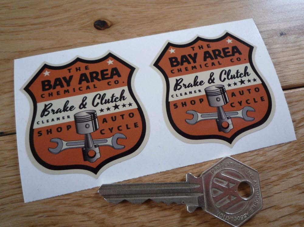 """Bay Area Chemical Co. Brake & Clutch Cleaner Shield Stickers. 2"""" Pair."""