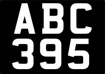 Mandatory Font Number Plate Digit Stickers - 44mm Tall