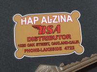 Hap Alzina BSA Distributor Oakland California Sticker. 2.5