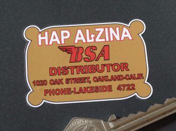 "Hap Alzina BSA Distributor Oakland California Sticker. 2.5""."