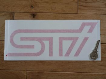 "Subaru STi Red Cut Text Sticker. 11""."