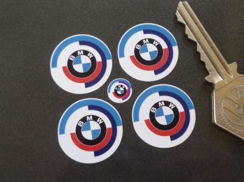 BMW Gunsight Roundel Later Blue Style Stickers. Set of 4. 25mm.