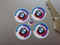 BMW Gunsight Roundel Old Purple Style Stickers. Set of 4. 25mm.
