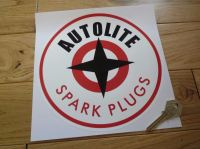 Autolite with Red Spark Plugs Text Round Sticker. 8