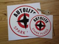 Autolite with Red Spark Plugs Text Round Stickers. 3