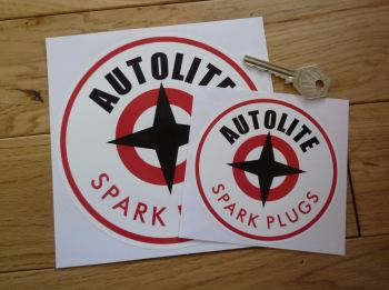 "Autolite with Red Spark Plugs Text Round Stickers. 3"", 4"", or 6"" Pair."