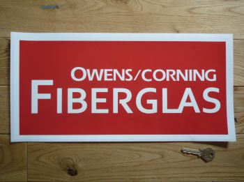 "Owens/Corning Fiberglas Red & White Oblong Sticker. 16""."