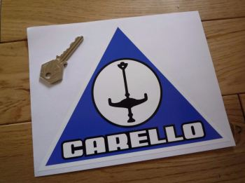 "Carello Blue Triangular Shaped Sticker. 7.5""."