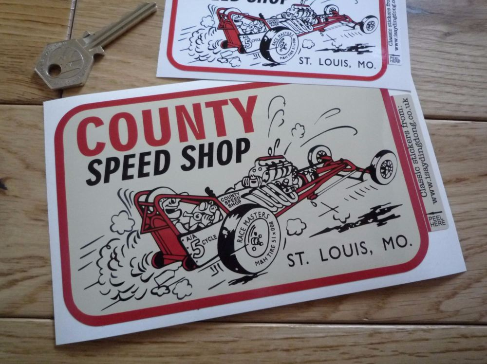 """County Speed Shop St. Louis, Missouri Sticker. 4"""" or 6""""."""