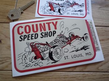 "County Speed Shop St. Louis, Missouri Sticker. 4"" or 6""."