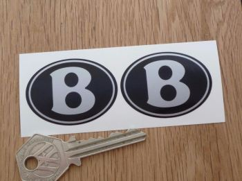 Bentley Black & Silver Oval Stickers. 45mm Pair