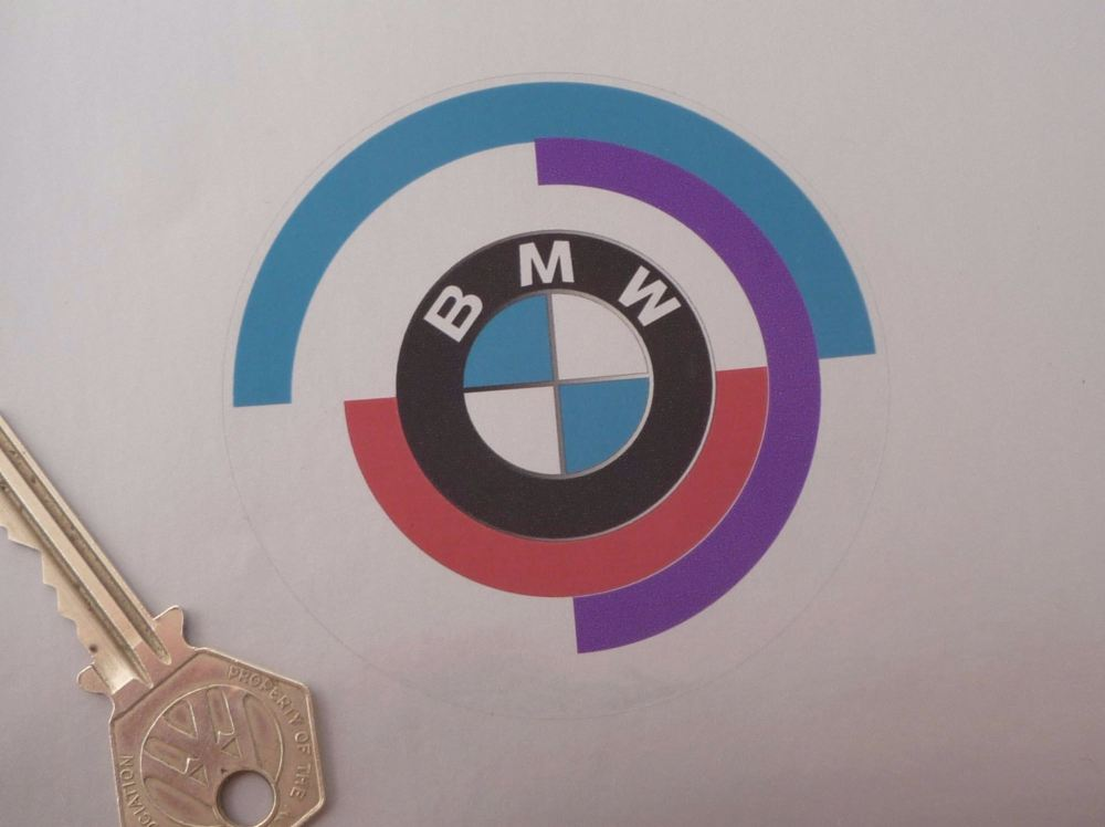 BMW Gunsight Roundel Clear Stickers. 80mm Pair.