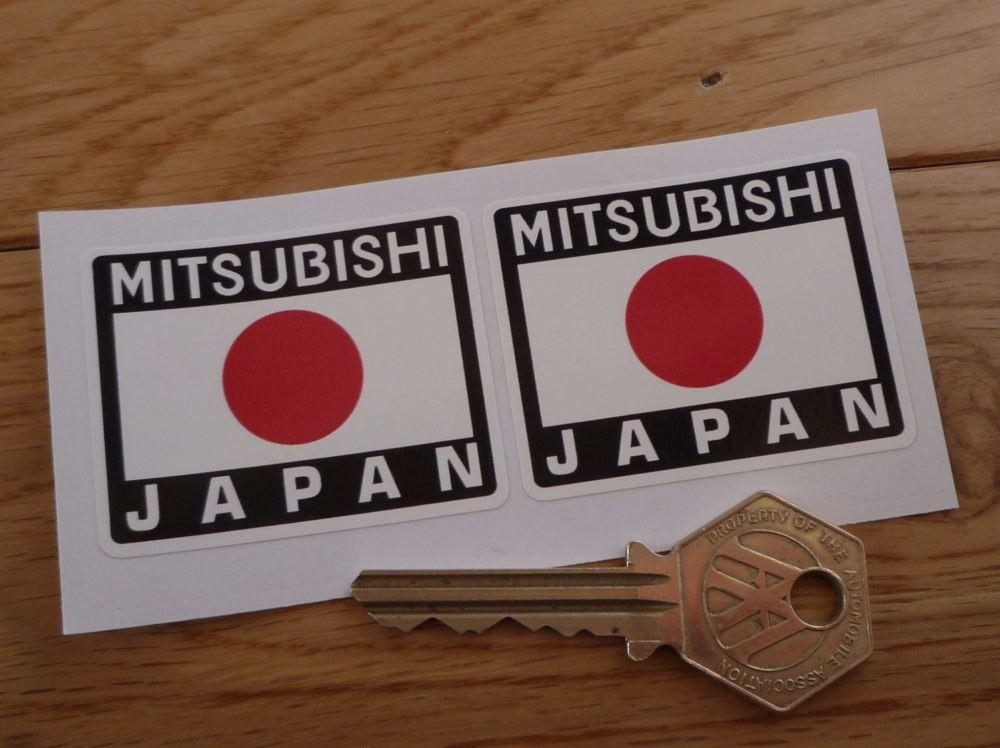 """Mitsubishi Japan Hinomaru Style Stickers. 2"""" Pair."""