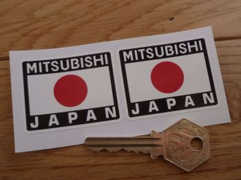 "Mitsubishi Japan Hinomaru Style Stickers. 2"" Pair."