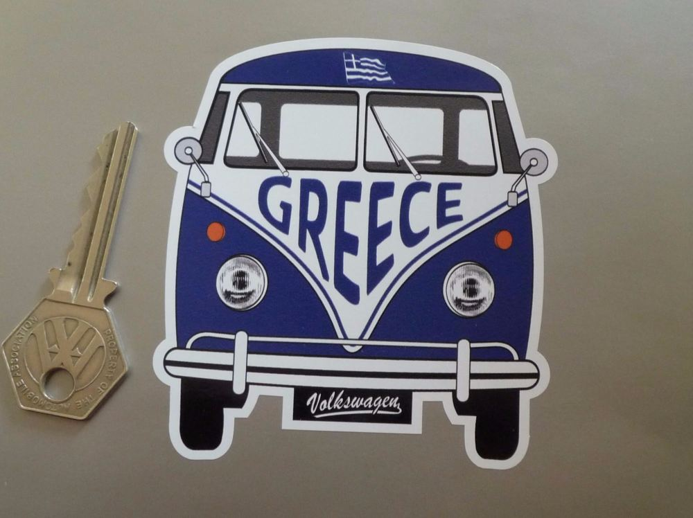 "Greece Volkswagen Campervan Travel Sticker. 3.5""."