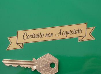"""Costruito non Acquistato Italian Built Not Bought Scroll Sticker. 4""""."""