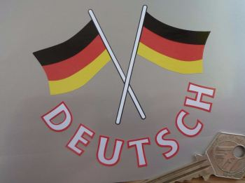 "Deutsch Text & Crossed German Flags Cut Out Germany Sticker. 4""."