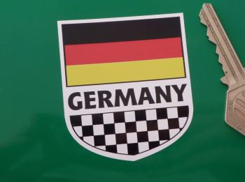 "Germany Tricolour Flag & Chequered Shield Sticker. 2.5""."