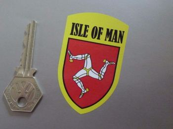 "Isle Of Man Yellow Shield Style Stickers. 2.75""."