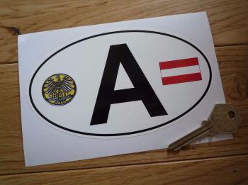 """A Austria ÖAMTC Crest & Austrian Österreichische Flag ID Plate Sticker. 6""""."""
