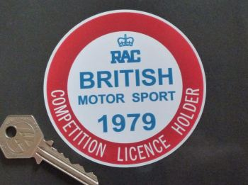 "RAC British Motor Sport 1979 Competition Licence Holder Static Cling Sticker. 3.5""."