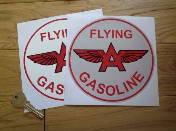 "Flying A Gasoline Circular Sticker. 6""."
