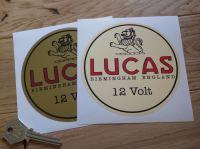 """Lucas Birmingham England 6 Volt or 12 Volt Round Sticker. 4.5""""."""