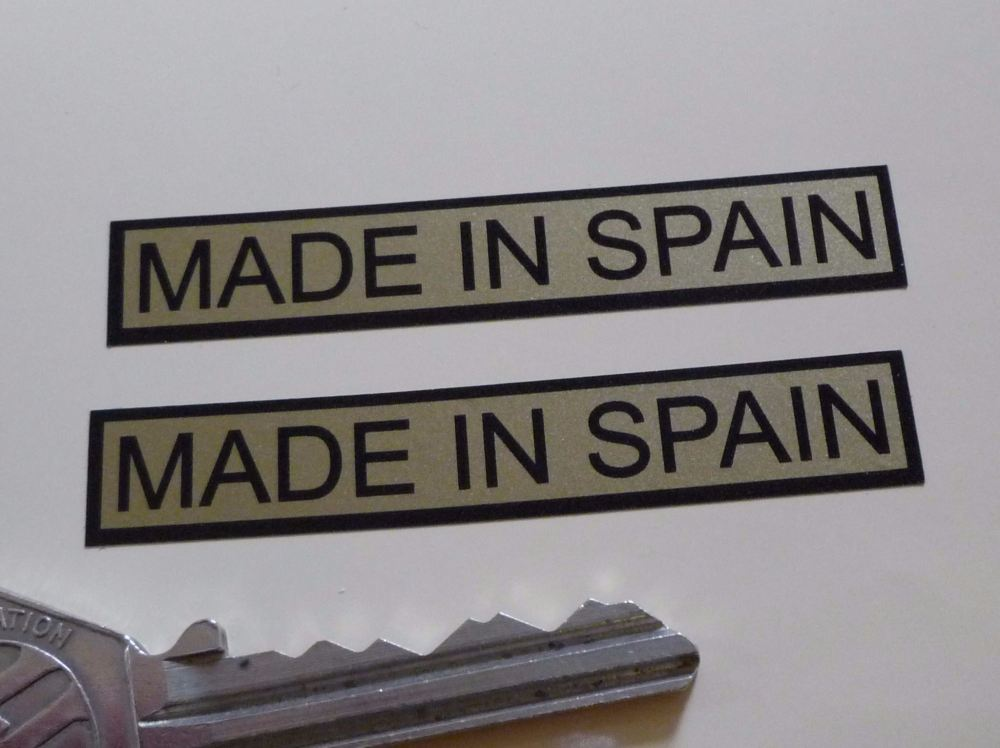 """Made in Spain Oblong Black & Gold Stickers. 2.5"""" Pair."""