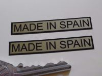 "Made in Spain Oblong Black & Gold Stickers. 2.5"" Pair."