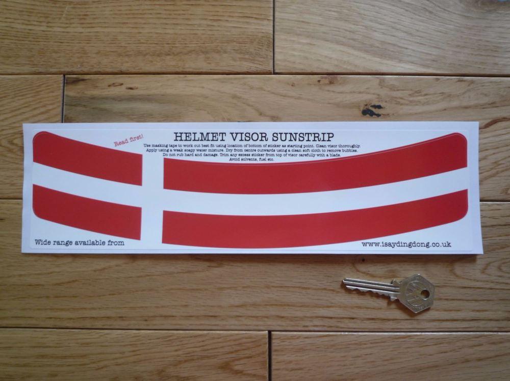 """Denmark Scandinavian Cross Flag Helmet Visor Sunstrip Sticker. 12""""."""