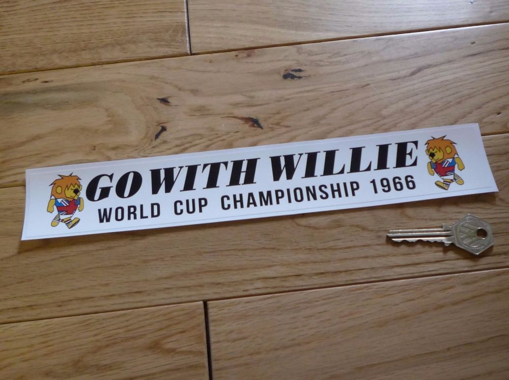 "Go With Willie World Cup Championship 1966 Football Sticker. 11.5""."