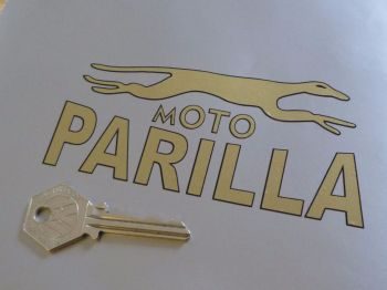"Moto Parilla Gold & Black Handed Logo Stickers. 5"" Pair."