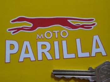 "Moto Parilla Red & White Handed Logo Stickers. 3.75"" Pair."