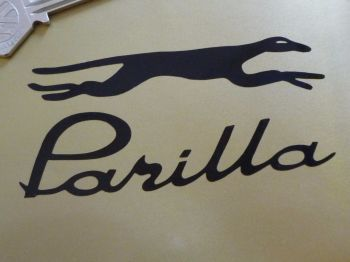 "Moto Parilla Cut Vinyl Handed Logo Stickers. 4"" Pair."