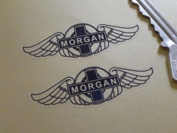 "Morgan Black & Clear Winged Logo Stickers. 1.75"" or 2.5"" Pair."
