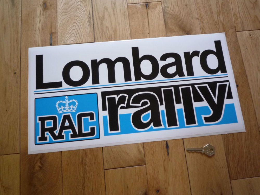 "Lombard RAC Rally Black & Blue Sticker. 15"" or 19""."