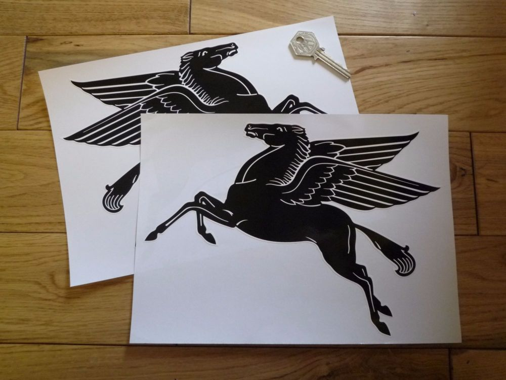 """Mobil Early Pegasus Shaped Black & White Stickers. 2"""", 5"""", 8"""", or 10"""" Pair."""