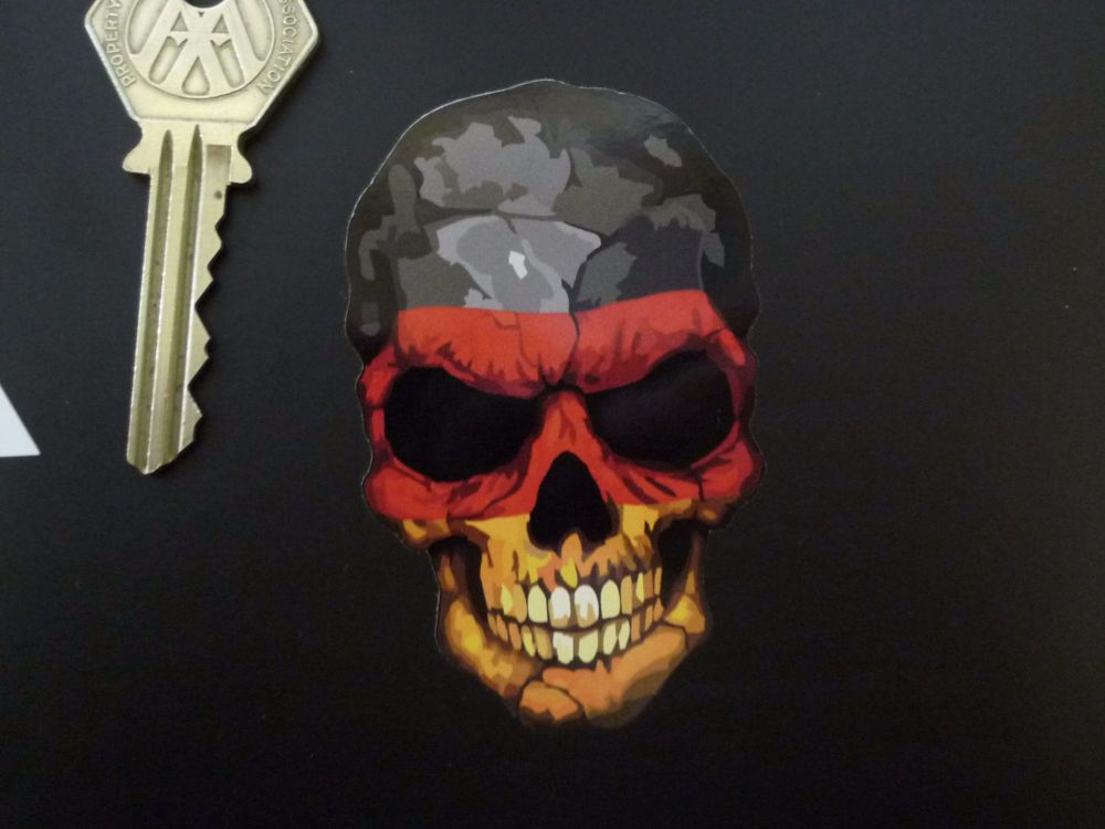 "Skull in Germany Tricolour Flag Style Sticker. 3""."
