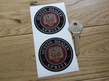 """Austin Healey Sprite Crest Circular Silver Stickers. 2.25"""" Pair."""