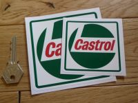 """Castrol Square Framed Dark Green Stickers. 2, 3"""", or 4"""" Pair."""