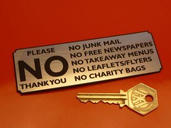 "Please No Junk Mail, Leaflets, etc. Wall Plaque Sign. 4.75""."