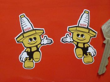 "NGK Spark Plug Little Man Stickers. 2.5"" Pair."