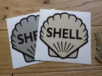 """Shell Classic Logo Stickers. 4"""" Pair."""
