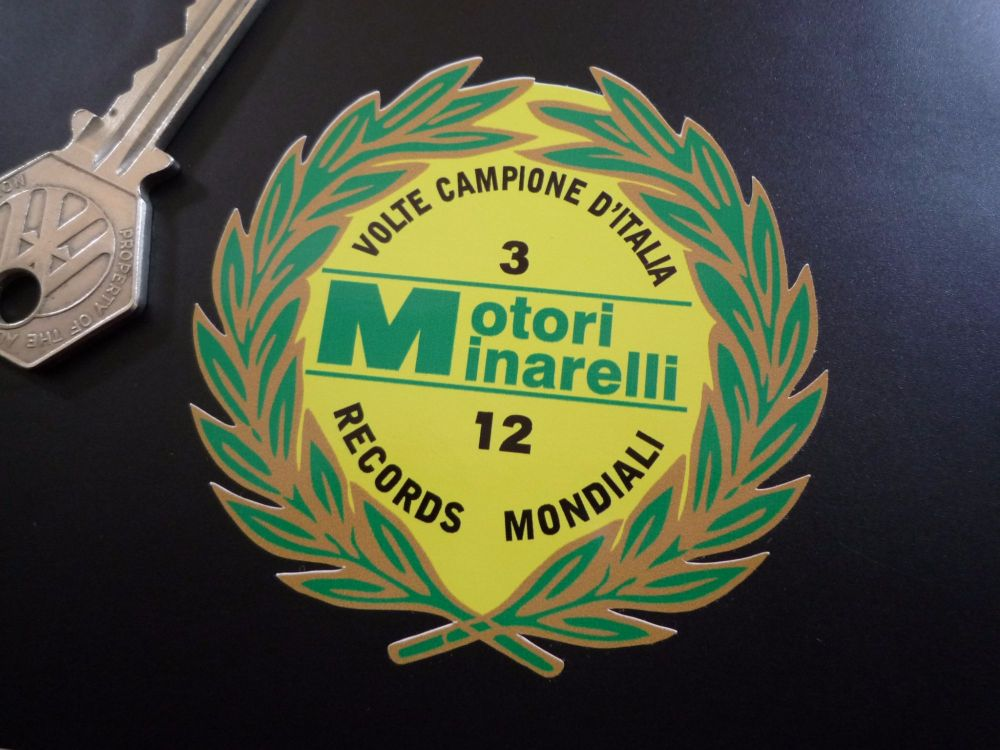 """Motori Minarelli 12 Records Mondiali Garland Sticker. 2.75""""."""