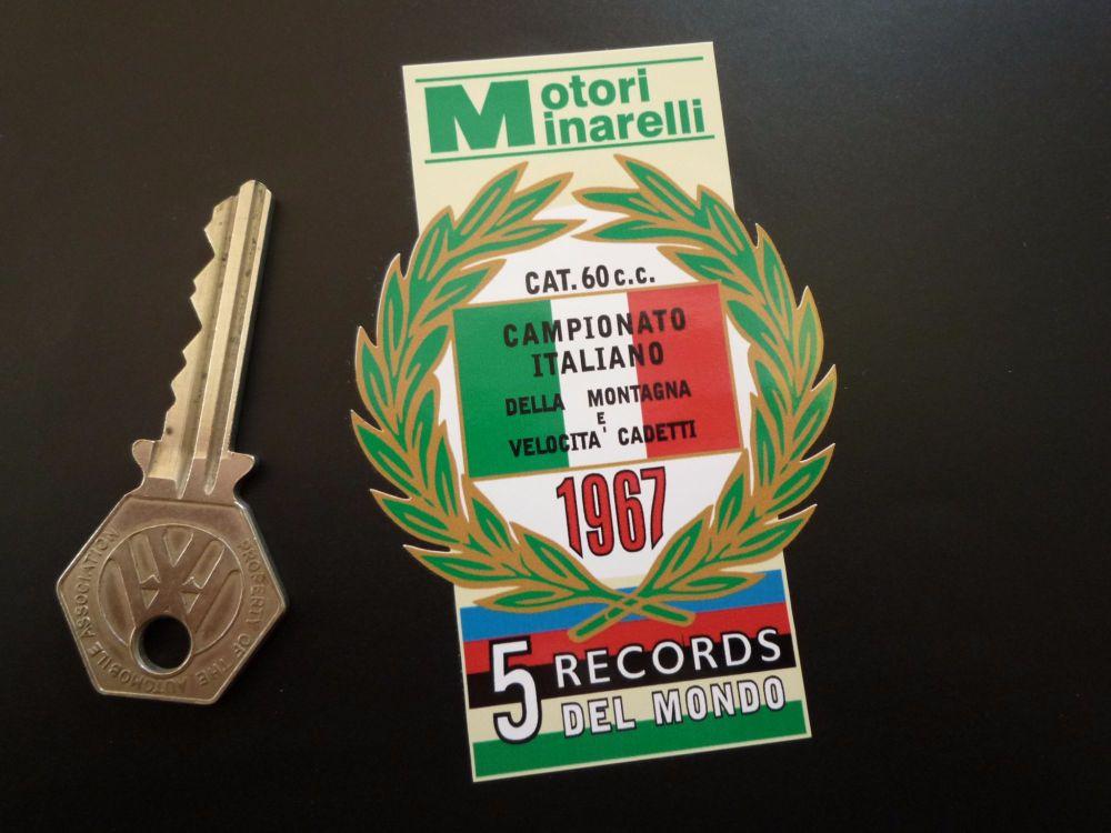 """Motori Minarelli 5 Records Del Mondo 1967 Garland Sticker. 3.5""""."""
