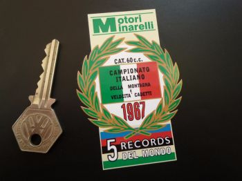 "Motori Minarelli 5 Records Del Mondo 1967 Garland Sticker. 3.5""."