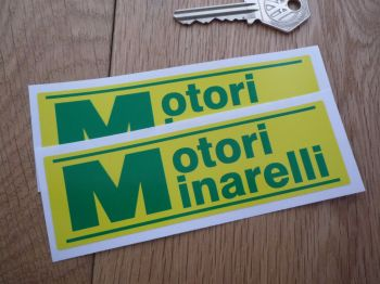 "Motori Minarelli Green & Yellow Oblong Stickers. 4.75"" or 8""  Pair."