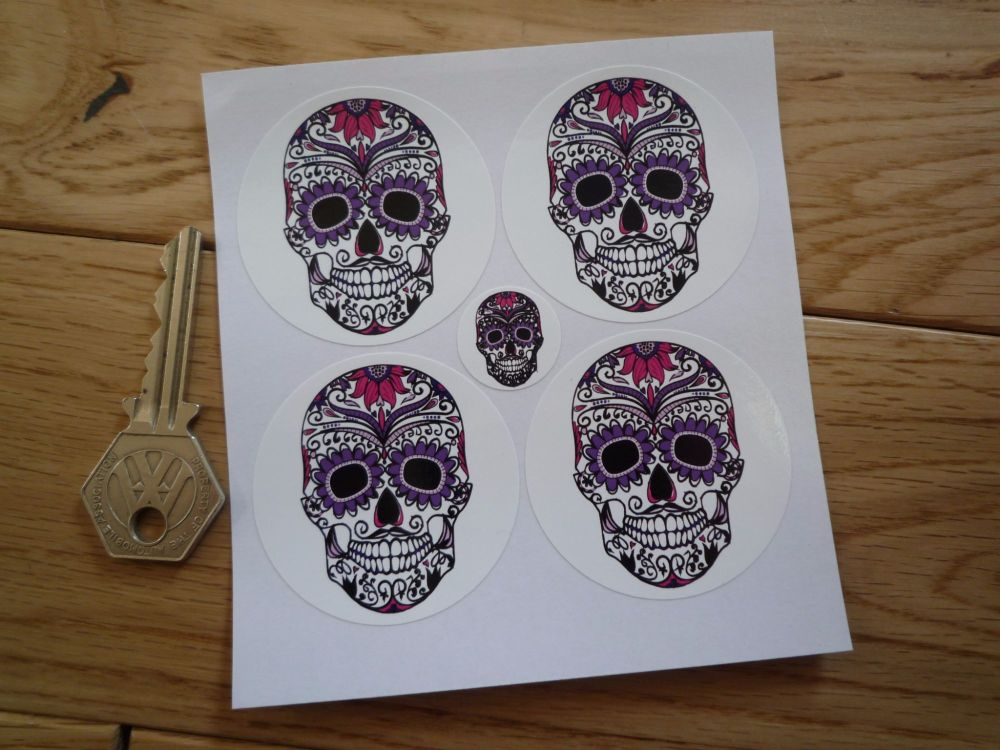 Day of the Dead Purple Sugar Skull Wheel Centre Stickers. Set of 4. 50mm.