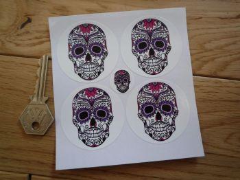 Day of the Dead Purple Sugar Skull Wheel Centre Stickers. Set of 4. 50mm.