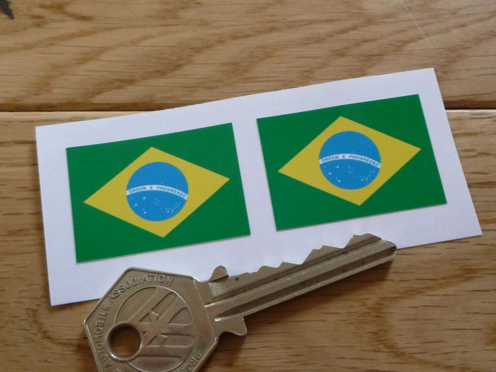 Brazilian Flag Stickers. 35mm Pair.
